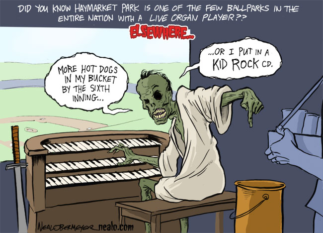 the original sketch of this cartoon included the zombie organist