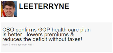 Lee Terry congressional budget office CBO health care premiums deficit taxes