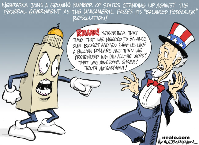 tenth amendment federal stimulus dollars nebraska state budget deficit balanced feudalism