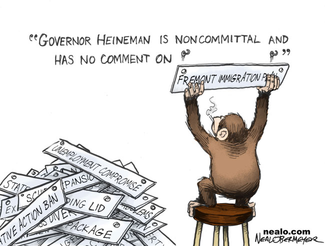 governor dave heineman smoking monkey fremont illegal immigration immigrant plan