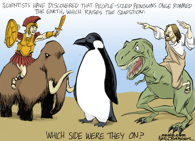 jesus giant penguins tyrannosaurus rex