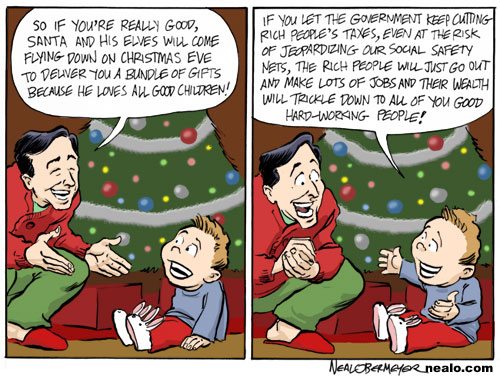 santa claus christmas trickle down economics tax cuts wealthy rich