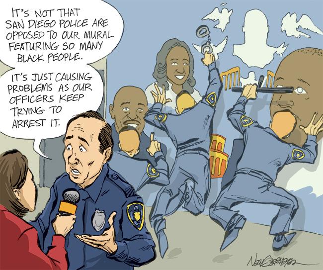 racial discrimination police racists mural african americans black people