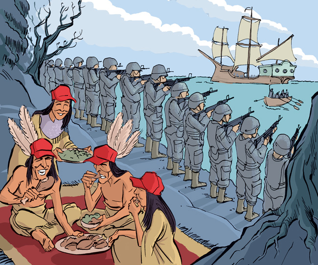 native americans thanksgiving pilgrims border patrol caravan